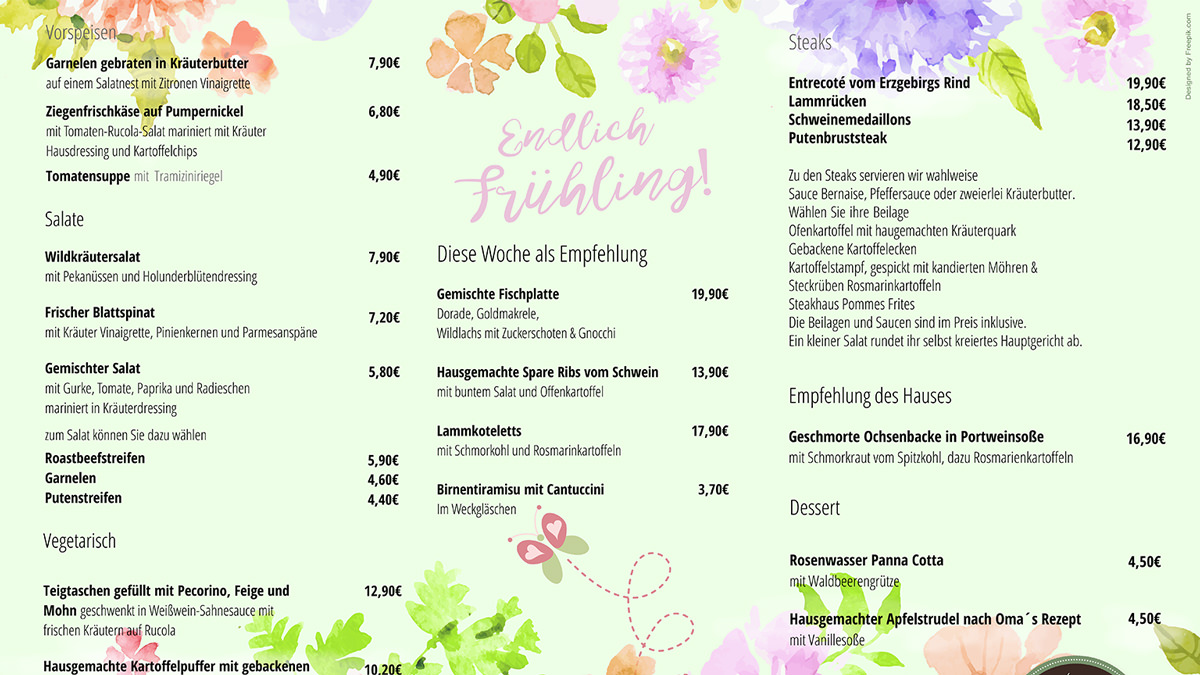 Graphic design Munich Menu