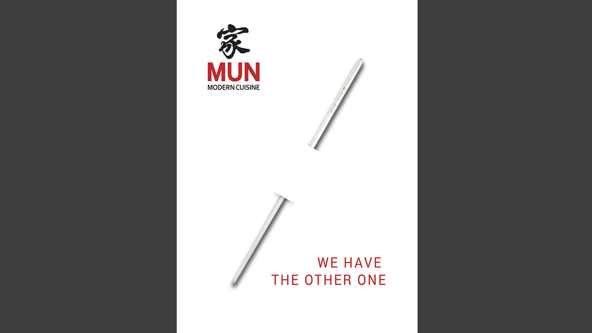 Graphic design Munich Analog invitation (with real stainless steel chopsticks)