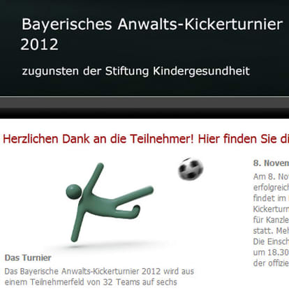 Webdesign Munich Table football tournamentand Physiotherapy