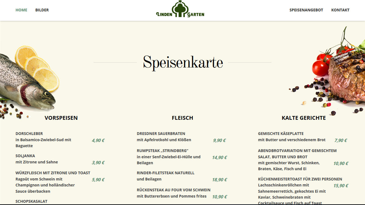 Webdesign Munich Restaurant Menu