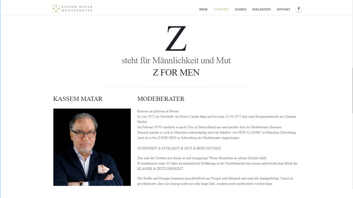 Webdesign Munich Men's outfitter